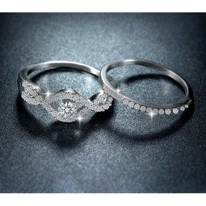 Sterling Silver & Clear Brilliant CZ Ring Set